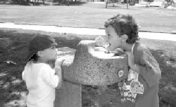 LISA ADAMS/The AcornCAN I HAVE SOME, TOO? - Agoura Hills resident Cole Miller, 2, left, waits for his 4-year-old brother, Zak, to go first at the Sumac Park water fountain. The dogs days of August caused these little puppies to get thirsty.