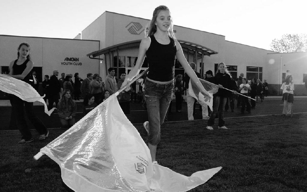 LISA ADAMS/The Acorn  WELCOME--Kelsey Life of the Boys & Girls Club Color Guard performs during the grand opening of the first local Boys & Girls Club. The event took place at Los Cerritos Middle School in Thousand Oaks last Wednesday. Officials hope to open several more clubs in Conejo Valley/Las Virgenes.