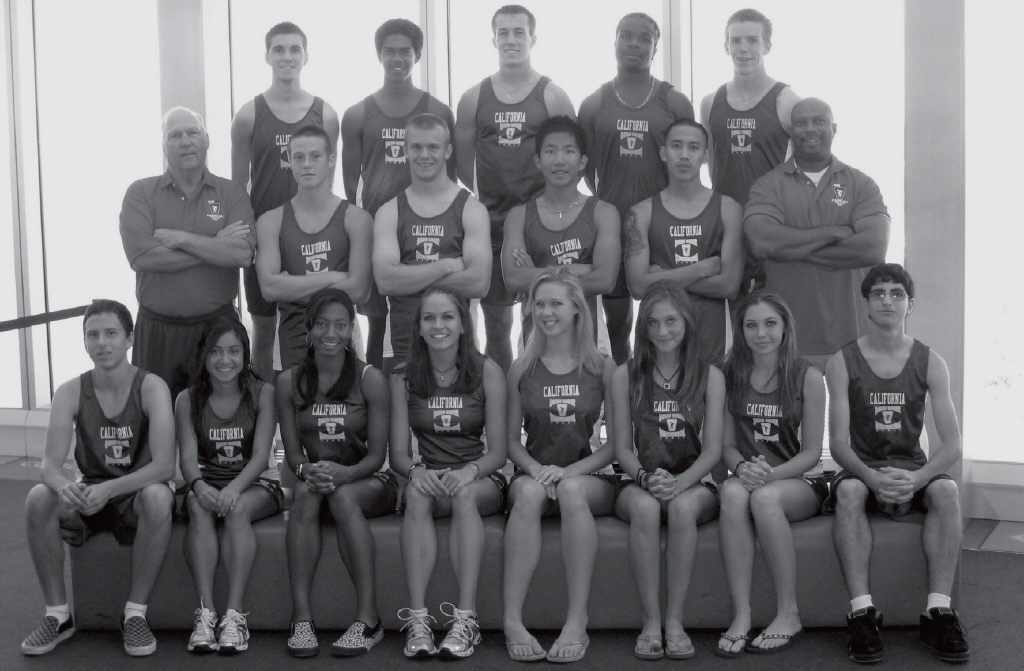 MEDALS OF HONOR—Team California, featuring several members of the Agoura High track and field squad, won 21 medals at the Down Under Games in Australia. Pictured in the front row, from left, are Louis Bartuzik, Cebriana Avina, LaSasha Aldredge, Brooke Rumley, Kimberly Sharp, Alexandra  Smith,  Sophia  Ferrone  and  Nami  Taghavi.  Middle  row:  Coach  Jon Willingham, Christopher Williams, Andrew Powell, Daniel Taniguchi, Aaron Feliciano and coach Tracy Spencer. Back row: Nathaniel Puckett, Roman Kennedy, Patrick Rohn, James Short and Brendan Poutier.