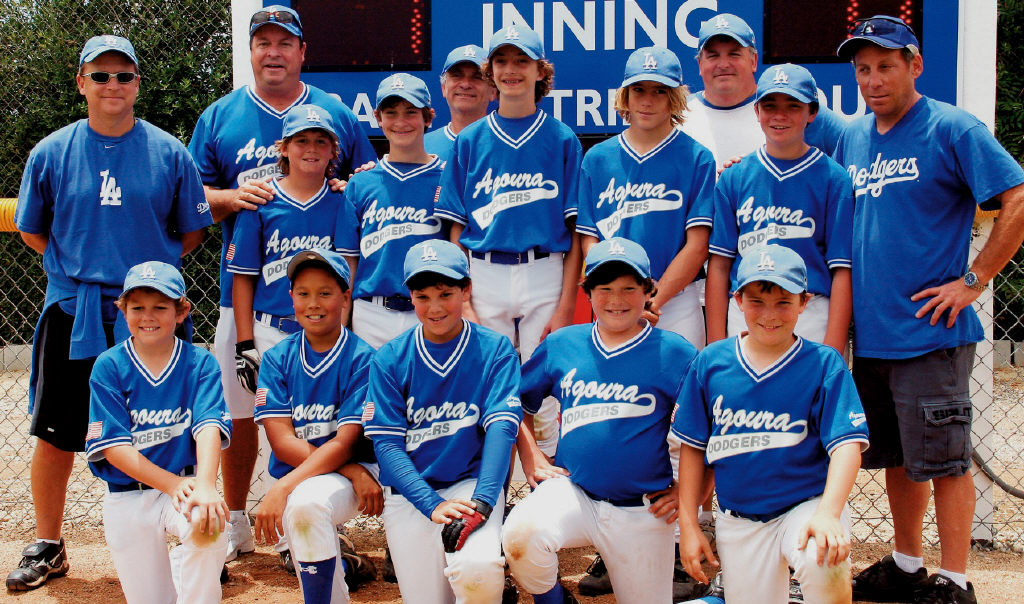 WAY TO GO—The Dodgers won the Agoura Pony Baseball Bronco B division, beating the Phillies 7-6 in extra innings. Back row, from left: Coach Tony Rodriguez, assistant coaches Robert Steinbeck, Ken Kaplan, Mike Olson and Rob Cohen. Middle row: Jason Steinbeck, Ryan Kaplan, Sam Kirschenbaum, Adam Bell and Sean Bradley. Front row: Brenden Rodriguez, Shane Pedroza, Ari Cohen, Trevor Nimoy and Andrew Olson.