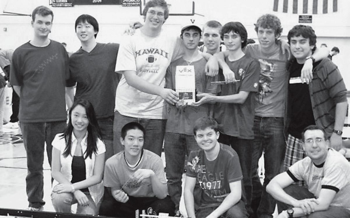 ENGINEERED TO WIN—The Viewpoint School Robotics Team will compete against almost 1,000 other teams. Front row, from left: Cindy Shih, Takumi Iwai, Aaron Rips and Lance Argano-Rush. Back row, John Christian, Jeff Shih, Michael Moore, Colin Kaufman, Evan McBean, Tim Spratt, Coleman Davis and Nathaniel Baskin.
