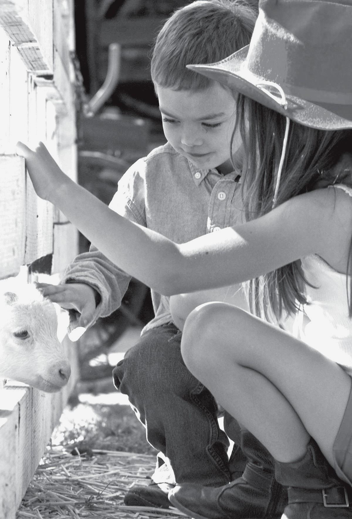 LIFE IN THE OLD WEST—Left, Riley Robinson, 5, of West Hills, and Madison Morgan, 8, of Woodland Hills get to know a baby lamb during the recent Old Town Western Barbecue at Leonis Adobe Museum in Calabasas. Above, Calabasas resident Andrea Bernholtz spends time with her 6-week old daughter, Barrett.
