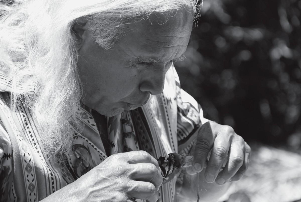 STORYTELLER—Alan Salazar shares American Indian stories and blessings with those at the gathering in Calabasas on May 19.