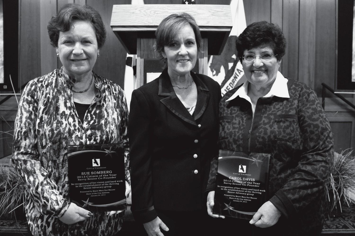 AWARDS—Mayor Mary Sue Maurer, middle, presents Sue Somberg, left, and Carol Davis with Citizens of the Year honors for their work in the Calabasas senior community.