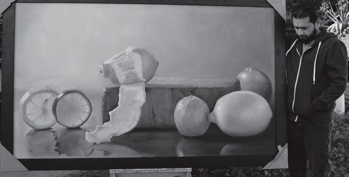 REALISM—Artist Scott Kiche displays his painting depicting fruit. He will be demonstrating a painting technique at the Westlake Village Art Guild's dinner meeting on May 5.