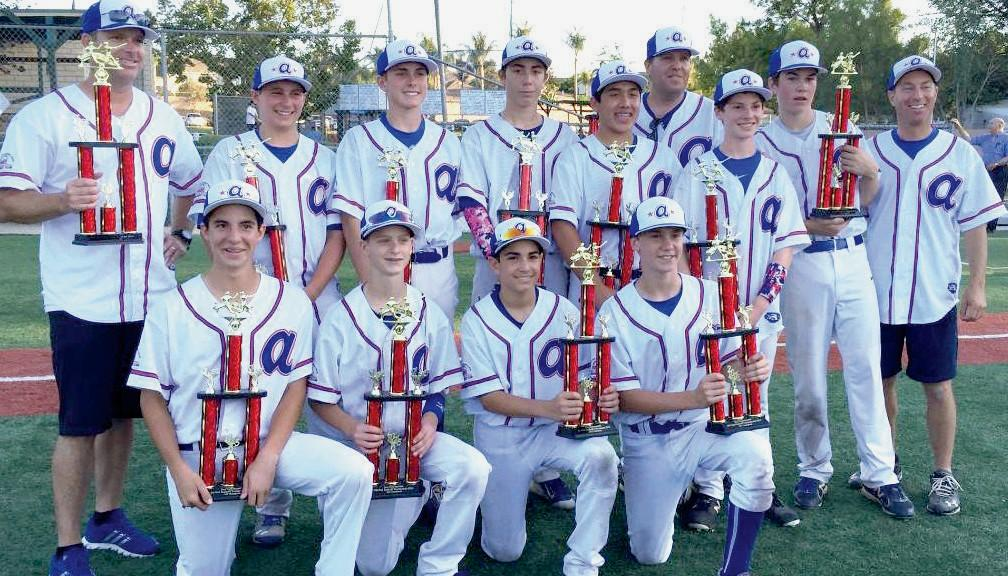 ALL-STARS SHINE—Agoura PONY Baseball's U-14 All Star team goes undefeated to win the Simi All Star Kick-off Tournament. The boys outscored their opponents 46-9 in tourney play. Front row, from left to right are: Taylor Williams, Ben Fairly, Chad Benun and Conner Brinkley. Back row: Ethan Klausner, Caelan Burkhart, Taylor Justus, Jason Garrett, Ryan Cohen and Jackson Harn with coaches Pat Fairly, Doug Cohen and Greg Klausner. Team members not pictured are Andrew Kang and Justin Leggett.
