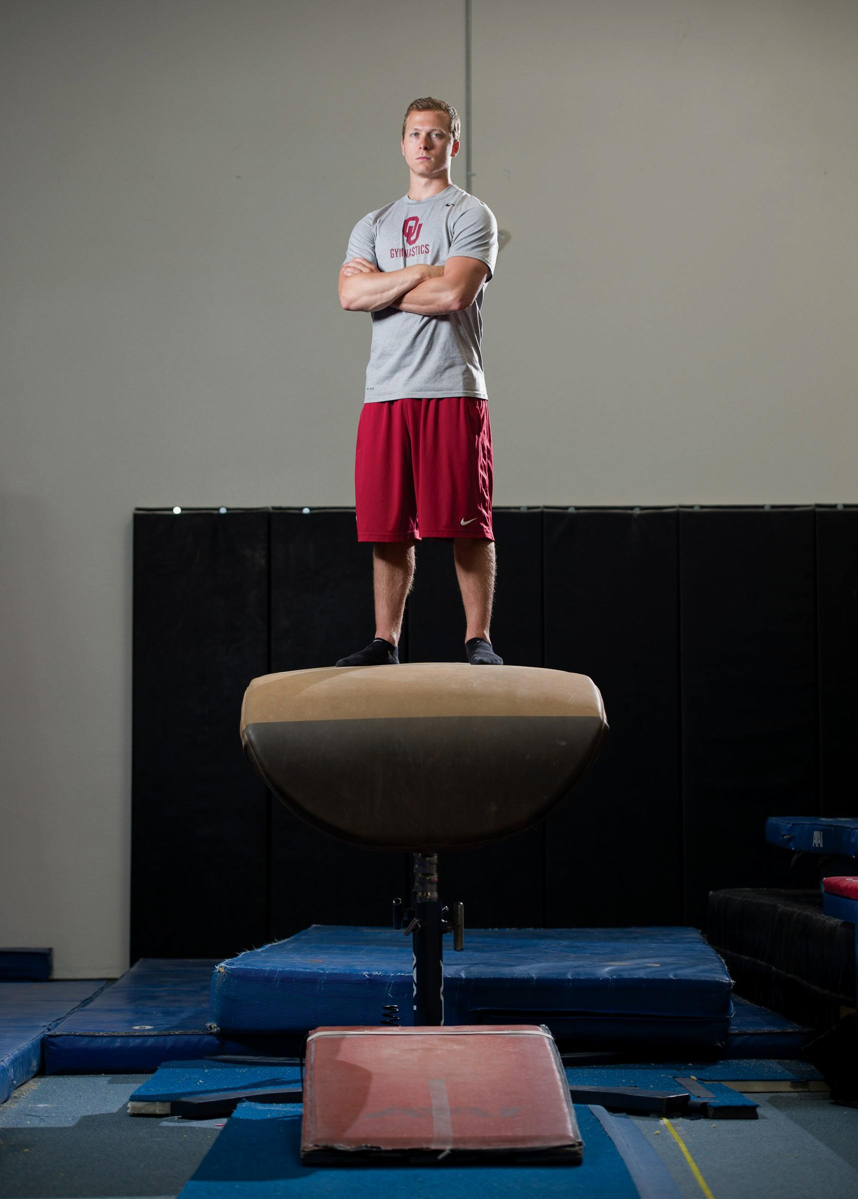 ON TOP OF THE WORLD—Alec Robin, a 2011 Calabasas High graduate, was a senior captain and all-around specialist for the NCAA champion University of Oklahoma men's gymnastics team this season.