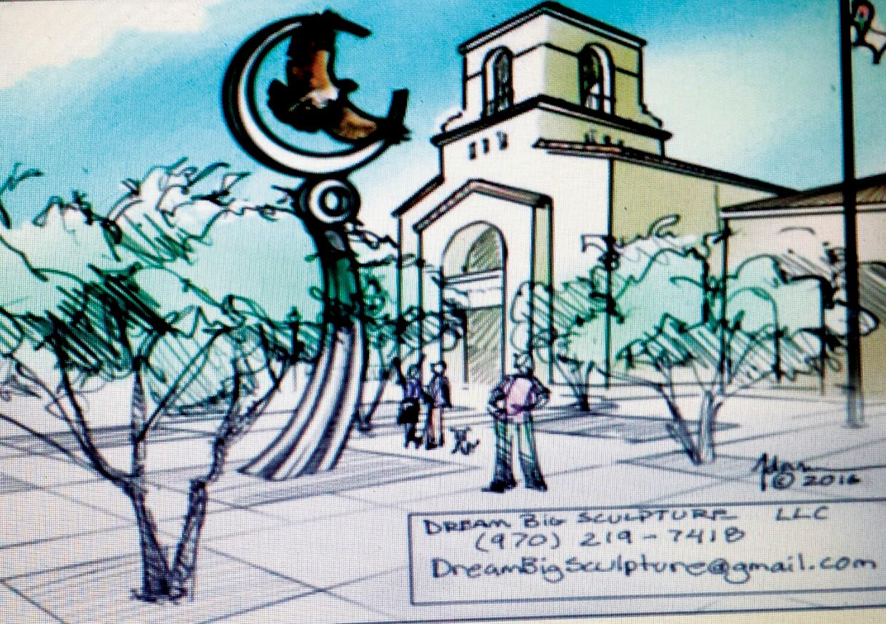 SOARING HIGH—A rendering by Dream Big Sculpture shows how the hawk, the symbol of Calabasas, would be situated at the Civic Center.