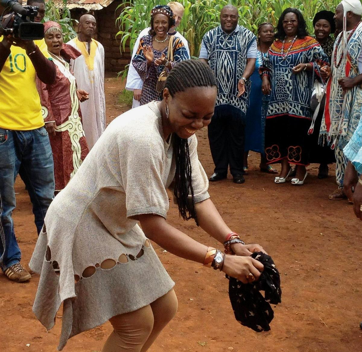 JOYOUS—Marianne Bema dances in Cameroon, Central Africa where she grew up. Bema now runs the business, Bantu Arts Atelier For Kids.
