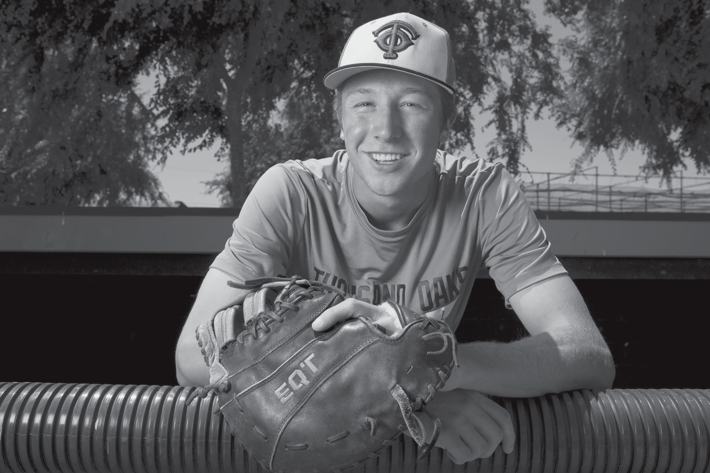 THANKFUL—Andrew Berard, a senior at Thousand Oaks High, survived a bout with lung cancer. A routine surgery turned into a six-hour operation to save his life two years ago. Two-thirds of his right lung was removed, but Berard has thrived for the Lancers' baseball team.